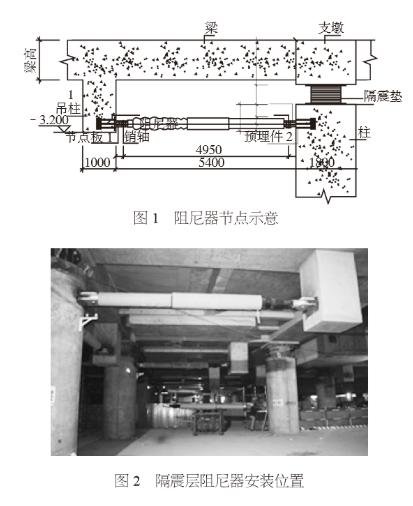 粘滞阻尼器节点及安装位置